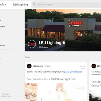 LBU Lighting Google Plus Business Pages