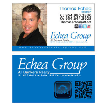 Double sided business card layout for Echea Group