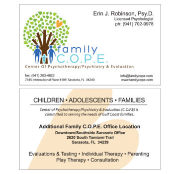 Double sided business card layout for Family Cope